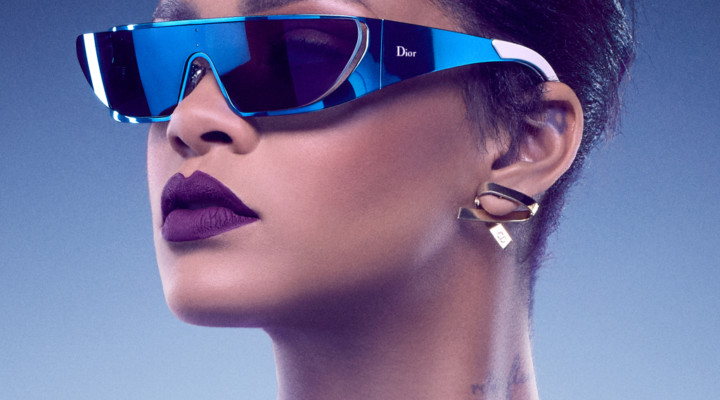 Rihanna wearing frames from her Dior sunglass collaboration.